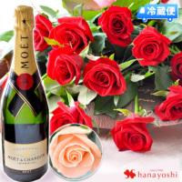 赤バラとシャンパンのセット